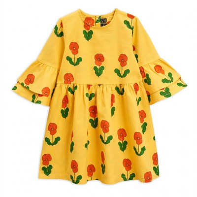 Mini Rodini Violas Flared Sleeve Dress Yellow